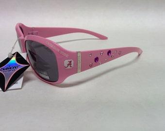 NEW! Women's Alabama Crimson Tide inspired Rhinestone Sunglasses. Medium to Slim fit! Pink with Logo's!