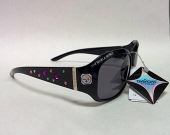 NEW! Women's Pittsburgh Steelers  inspired Rhinestone Sunglasses. Medium to Slim fit! Black with Logo's!