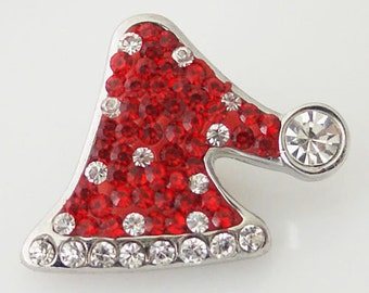 CZ Red Clear Santa Hat ~ Snap It SKB4378   Chunk Snap Button Popper Interchangeable 18mm 20mm snap