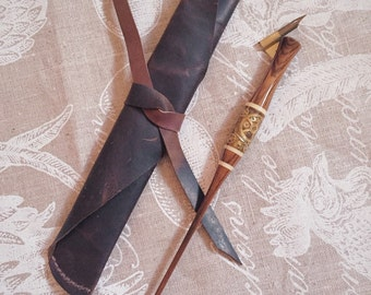 Espresso Waxed Leather Calligraphy Pen Wrap