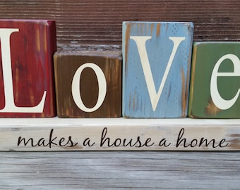 Vintage LOVE makes a house a home blocks