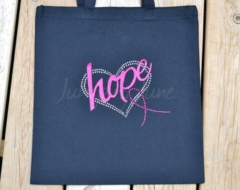 SALE - Breast Cancer - Pink Ribbon- Ready TO SHIP Treatment Tote Bag