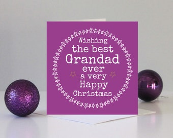 Grandad Christmas card - Christmas card for Grandad - Family Christmas card - Best Grandad Christmas card - Best Grandad in the world card