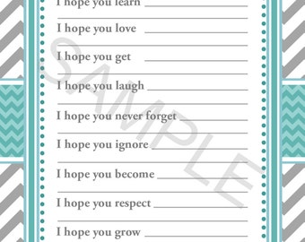 Baby Well Wishes for Baby Shower Games Dear Thomas (76) Instant download