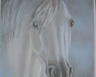 Grey Horse Print from pastel drawing