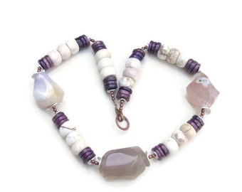 Big Bold Chunky Purple White Necklace, Natural Stone Statement Jewelry, OOAK