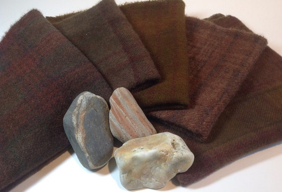 Chocolate Wool Bundle, Wool Fabric for Rug Hooking and Applique, Penny Rugs, Quilting -  - Five Fat Eighths  Warm Dark Chocolate W180