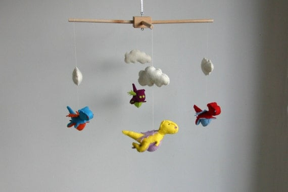 DIY kit, baby dragon mobile, DIY kit baby mobile, wool felt mobile, train your dragon mobile, colourful  mobile, make yourself baby mobile
