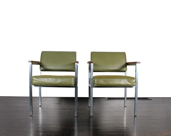 Pair of Vintage Mid Centruy Green Office Chairs