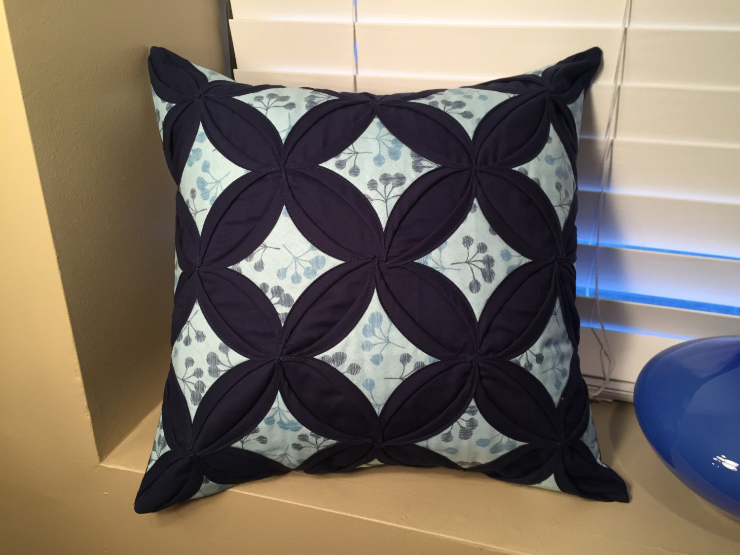 Blue Flower Quilted Throw Pillow Cover