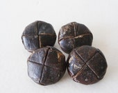 Vintage Round Leather Buttons - Darker Brown Leather Buttons with Metal Shanks - Set of 4 - 25 mm Buttons - Woven Leather