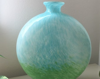 Elegant Aqua and Green Art Glass Oval Vase