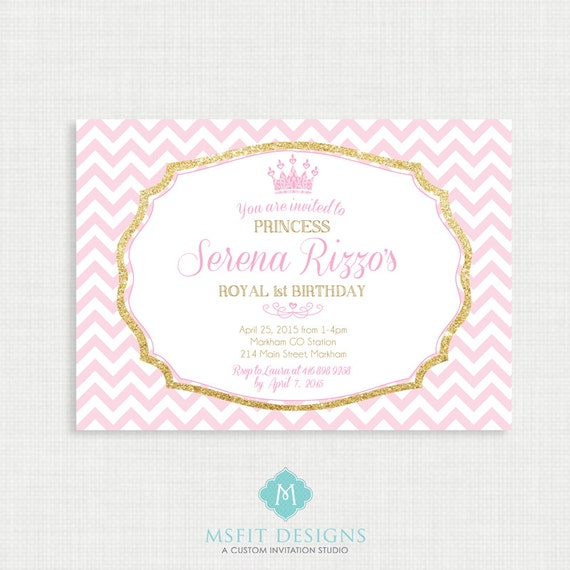 Princess Birthday Invitation- Tiara Birthday party invitation- Chevron, Gold and Pink Digital Printable Invites,Template, DIY
