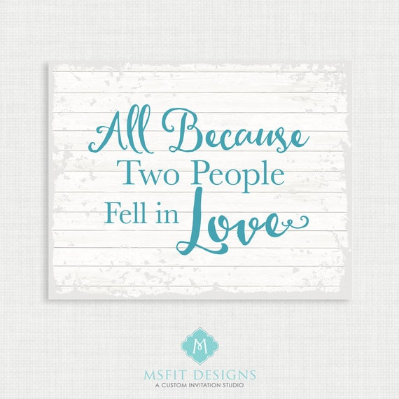 Home Wall Decor- All because two people fell in love - Family art print poster - Wall art 8x10