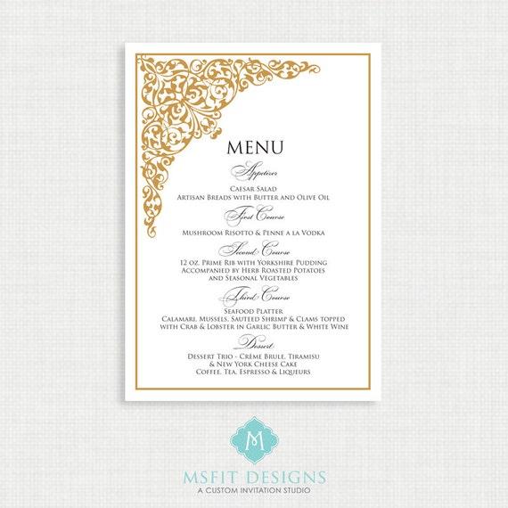 Printable Wedding Menu - ALL COLORS Available - You Print