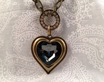 """Chain Necklace, brass-tone chain with ornate """"Crystal Heart""""  focal"""