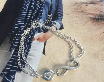 Infinity bracelet, best friend bracelet, chain bracelet, sylver tone bracelet, ancle bracelet,love bracelet, love for ever bracelet,