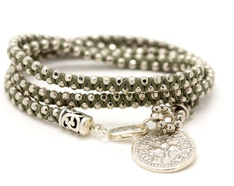 925 Silver bracelet with grey wax wires  - Ancient Hebrew silver charm bracelet - Grey bracelet - versatile jewelry - Free shipping