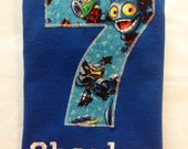 SKYLANDERS Inspired BIRTHDAY Shirt. Kids Personalized Birthday Party T-Shirt, Number Applique, Name, Embroidered, Boys, Gift.