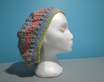 Colourful Slouchy Beanie, Boho, Hair Covering Hat, Tam, Accessory for Teens, Women's Fashion