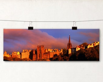 Edinburgh Panoramic Photo, Sunset Colors, Glolden Glow, Architecture