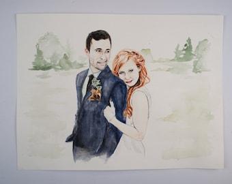 X-Large Custom Watercolor Wedding Portrait