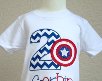 Captain America Birthday Shirt with name