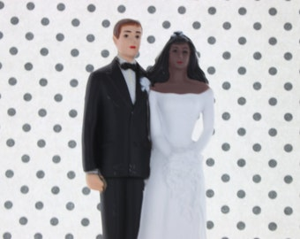 Vintage Interracial Bride & Groom Cake Topper/ Wedding Topper