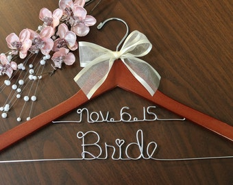 Ships in 1-3 days, Double line hanger, wedding photos, hanger with lace ribbon, name hanger, bridal hanger, bridesmaid hanger, hanger, bride