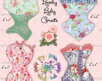Floral Corsets with Ribbons Lace & Bows | Digital Images | Clipart | Instant Download