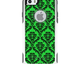 OtterBox Commuter for Apple iPhone 5S SE 5C 6 6S 7 8 PLUS X 10 - Custom Monogram - Any Colors - Green Black Damask Pattern
