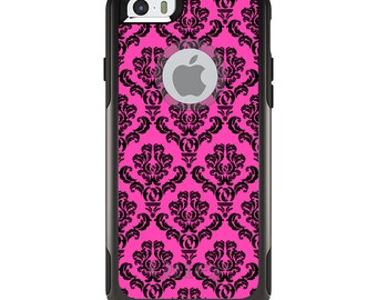 OtterBox Commuter for Apple iPhone 5S SE 5C 6 6S 7 8 PLUS X 10 - Custom Monogram - Any Colors - Pink Black Damask Pattern