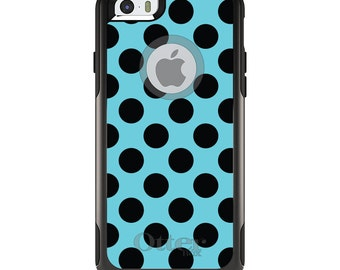 OtterBox Commuter for Apple iPhone 5S SE 5C 6 6S 7 8 PLUS X 10 - Custom Monogram - Any Colors - Black & Blue Polka Dots