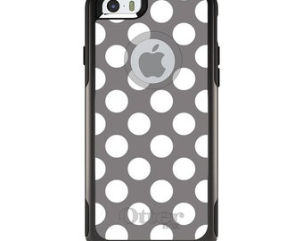 OtterBox Commuter for Apple iPhone 5S SE 5C 6 6S 7 8 PLUS X 10 - Custom Monogram - Any Colors - White & Grey Polka Dots