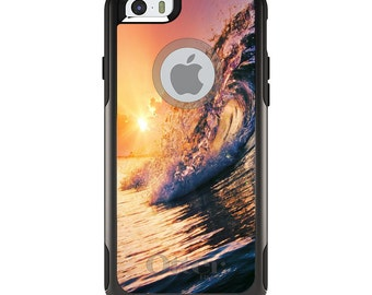 OtterBox Commuter for Apple iPhone 5S SE 5C 6 6S 7 8 PLUS X 10 - Custom Monogram - Any Colors - Ocean Wave Sunset
