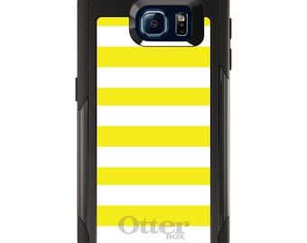 OtterBox Commuter for Galaxy S4 / S5 / S6 / S7 / S8 / S8+ / Note 4 5 8 - CUSTOM Monogram - Any Colors - Yellow & White Bold Stripes