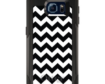 OtterBox Commuter for Galaxy S4 / S5 / S6 / S7 / S8 / S8+ / Note 4 5 8 - CUSTOM Monogram - Any Colors - Black & White Chevron Stripes
