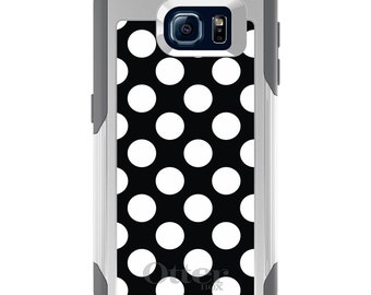OtterBox Commuter for Galaxy S4 / S5 / S6 / S7 / S8 / S8+ / Note 4 5 8 - CUSTOM Monogram - Any Colors - White & Black Polka Dots