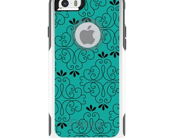 OtterBox Commuter for Apple iPhone 5S SE 5C 6 6S 7 8 PLUS X 10 - Custom Monogram - Any Colors - Coral Blue Black Floral Pattern