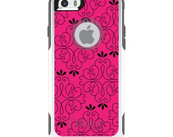 OtterBox Commuter for Apple iPhone 5S SE 5C 6 6S 7 8 PLUS X 10 - Custom Monogram - Any Colors - Neon Pink Black Floral Pattern