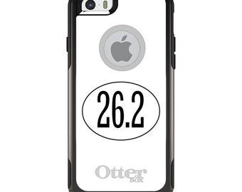 OtterBox Commuter for Apple iPhone 5S SE 5C 6 6S 7 8 PLUS X 10 - Custom Monogram - Any Colors - White 26.2 Oval Marathon Run