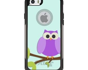 OtterBox Commuter for Apple iPhone 5S SE 5C 6 6S 7 8 PLUS X 10 - Custom Monogram - Any Colors - Purple Owl Cartoon