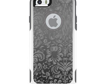 OtterBox Commuter for Apple iPhone 5S SE 5C 6 6S 7 8 PLUS X 10 - Custom Monogram - Any Colors - Shades of Grey Floral Pattern