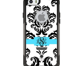 OtterBox Commuter for Apple iPhone 5S SE 5C 6 6S 7 8 PLUS X 10 - Custom Monogram or Image - Black White Grey Blue Damask