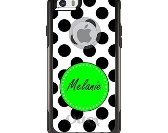 OtterBox Commuter for Apple iPhone 5S SE 5C 6 6S 7 8 PLUS X 10 - Custom Monogram or Image - Black White Green Polka Dots