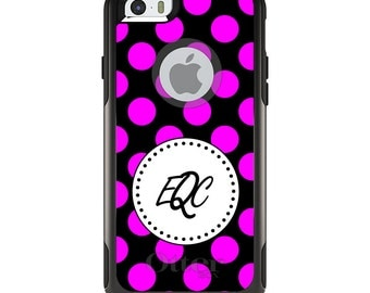 OtterBox Commuter for Apple iPhone 5S SE 5C 6 6S 7 8 PLUS X 10 - Custom Monogram or Image - Pink Black White Polka Dots