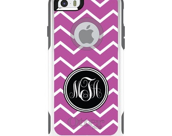 OtterBox Commuter for Apple iPhone 5S SE 5C 6 6S 7 8 PLUS X 10 - Custom Monogram or Image - Pink White Chevron Initials