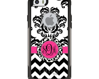 OtterBox Commuter for Apple iPhone 5S SE 5C 6 6S 7 8 PLUS X 10 - Custom Monogram or Image - Black White Damask Chevron