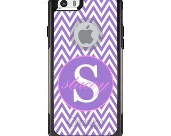 OtterBox Commuter for Apple iPhone 5S SE 5C 6 6S 7 8 PLUS X 10 - Custom Monogram or Image - Purple White Pink Chevron