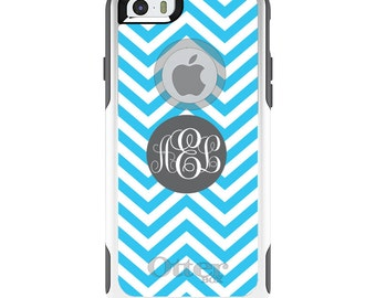 OtterBox Commuter for Apple iPhone 5S SE 5C 6 6S 7 8 PLUS X 10 - Custom Monogram or Image - Blue White Grey Chevron Stripes